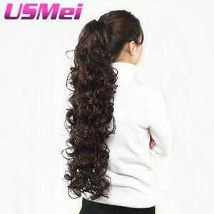 Накладные волосы USMEI, 32 дюйма, длинные, волнистые, коготь, на клипсе, хвостик, накладные волосы, конский хвостик, синтетические волосы