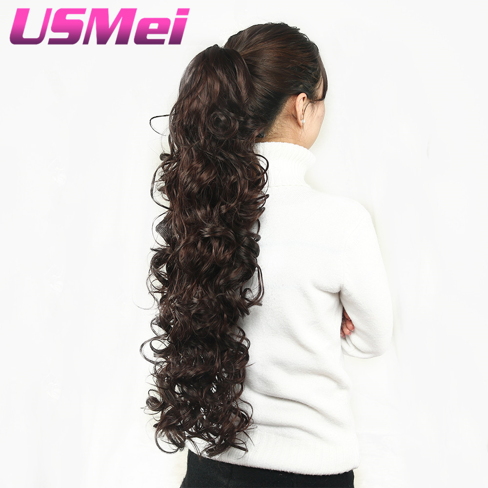 USMEI 32 inches Long curly Claw Clip Ponytail Fake Hair Extensions False Hair Pony Tails Horse