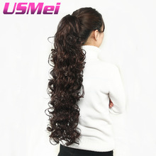 USMEI 32 inches Long curly Claw Clip Ponytail Fake Hair Extensions False Hair Pony Tails Hästtryck Curly Synthetic Hairpieces