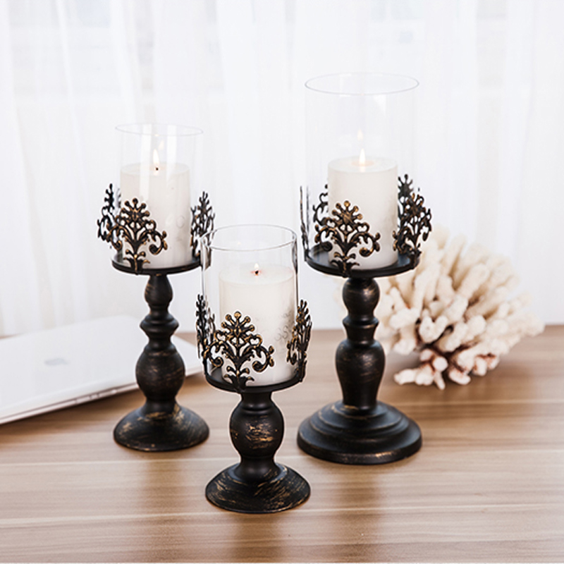 Elegant White/Black Candle Holder Candelabra Centerpiece Holds Home Decor Accessory Glass European Style Free Shipping