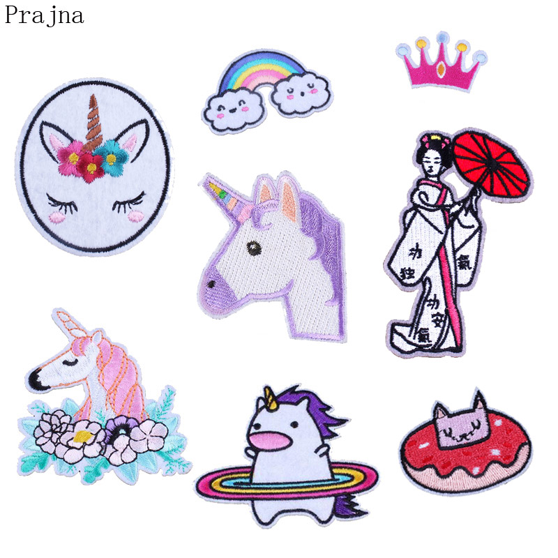 Prajna Rainbow Crown Horse Patch Iron Cartoon Iron On Patches Flower Children Kids Embroidered Patches For Clothes Stripe Badges
