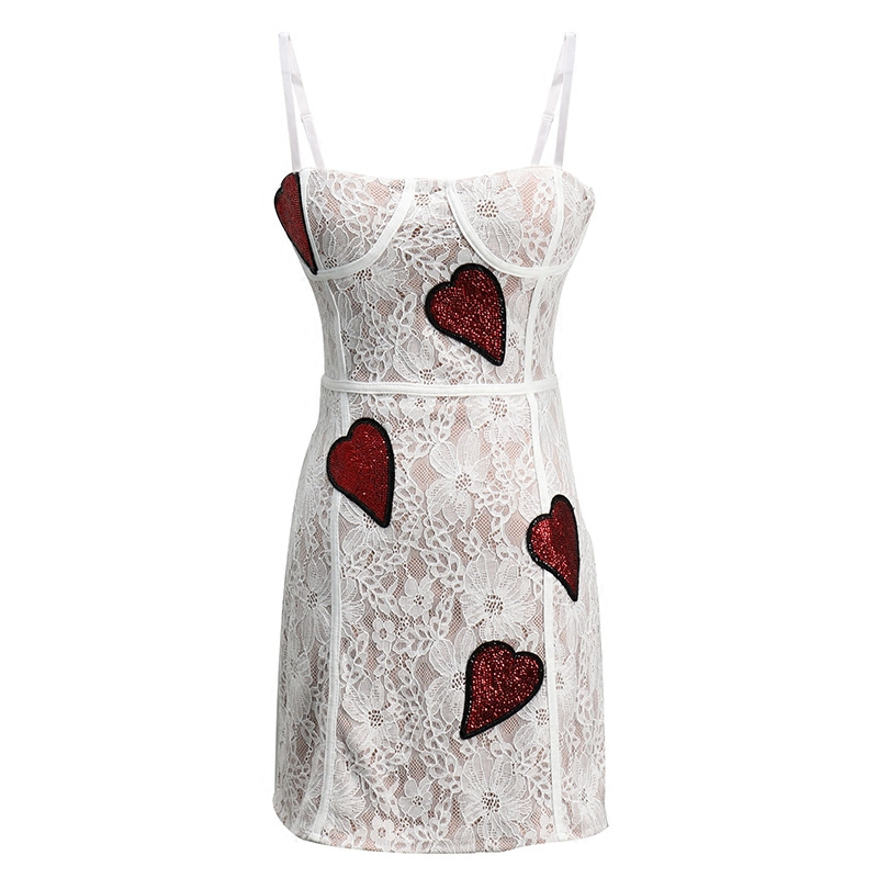 d11d4a8f4e298 Sequin Femmes Night Rouge Club Coeur Dentelle Sexy Robe Mince Mini Party  Romantique D été Robes Blanc ...