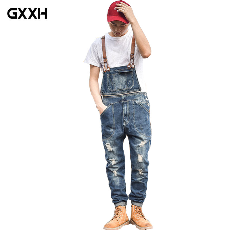 Japanese Slim Denim Bibs Male Zipper Decoration Suspenders Pants Workwear Siamese Pants Men s Wear Workwear