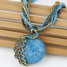 New Peacock Decoration Rough Necklace Short Clavicle Female Chain Stone Pendant Necklace Style Summer Jewelry Bohemian