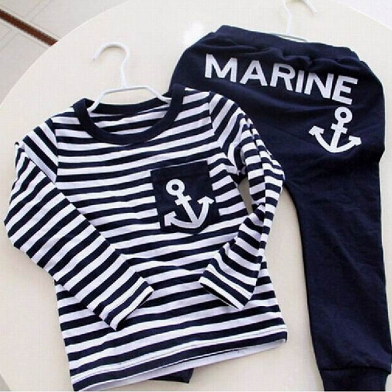 2016 New Spring Kids Clothes Navy Long Sleeve Pullover Striped Sports Suit Casual Boys Clothing Set Shirt + Pant