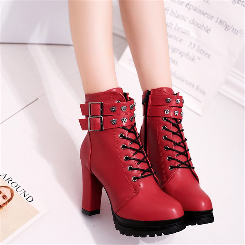 New Fashion Casual Women Boots Martin boots 2018 Autumn Winter Autumn Ankle Platform Ladies Boots PU Leather Shoes For Women Zip 1