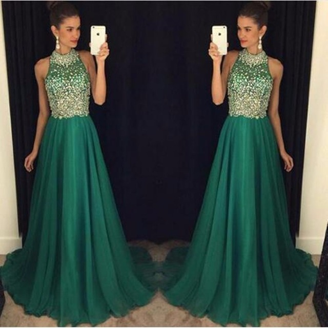 Green Bling Bling   Prom     Dresses   Long 2019 Robe De Bal Beaded Crystal Tulle A Line Special Occasion   Dress   Formal Evening Gowns