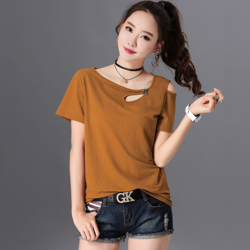 Off Shoulder Top T-Shirt Women Camisetas Mujer Verano 2018 Short Sleeve Korean Tshirt Women Loose Woman Clothes T Shirt Femme
