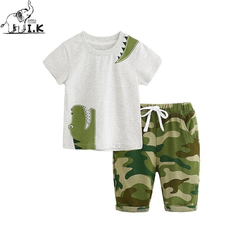 I.K niemowląt chłopców letnich dinozaurów krótkie zestawy - Ubrania dziecięce - Zdjęcie 1
