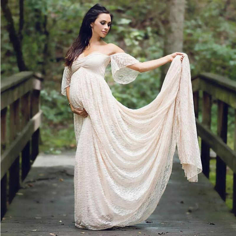 53cd314813f14 Maternity Dress Pregnancy Photo Props Shoot Clothes Pregnant Women Lady  Elegant Dresses Vestidos Lace Party Formal