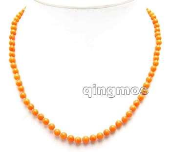 Sprzedaż małe 4-5mm okrągły naturalny pomarańczowy wysokiej jakości koral 17 #8221 naszyjnik-nec5956 sprzedaż hurtowa detaliczna darmowa wysyłka tanie i dobre opinie Naszyjniki Moda TRENDY Moc naszyjniki Kobiety qingmos CORAL Twisted singapur łańcuch 17 Posrebrzane ROUND 17 inch Orange