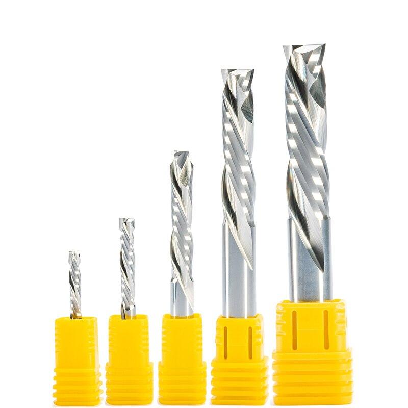 1pc shk 3.175/4/5/6/8/10mm para cima & para baixo corte duas flautas espiral endmill cortador cnc bit de compressão madeira end mill ferramentas para trabalhar madeira