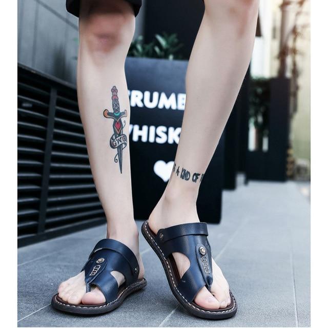 REETENE Hot Sale Men'S Sandals Genuine Leather Men Summer Shoes Leisure Slippers Flip-Flops Men Comfortable Footwear Soft Sandal 5