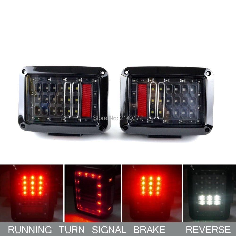 Black Smoked LED Tail Light for 07-15 Jeeps Wrangler Led Brake light Rear Turn Signal lights