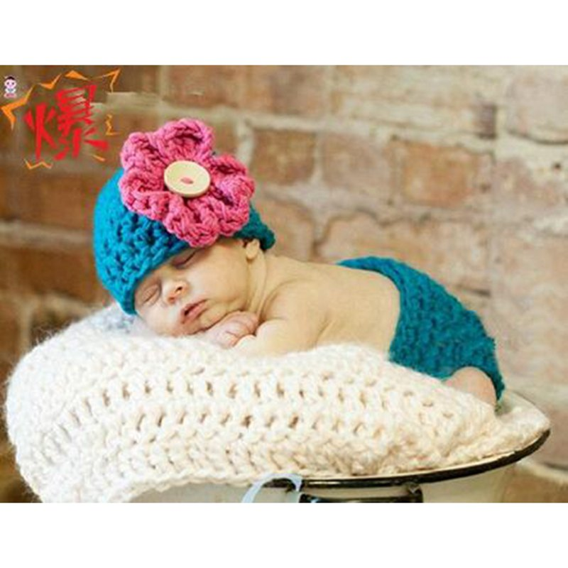 Handmade Woolen Flower Baby Photography Accessories Props Knitting Newborn Girl Hat + Bloomer Conjunto De Bebe Infant Clothes