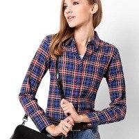 2016 Spring Autumn Women Long Sleeve Plaid Blouses Casual Shirt Women Tops Ton Blusas Femininas Plus Size Women Clothing
