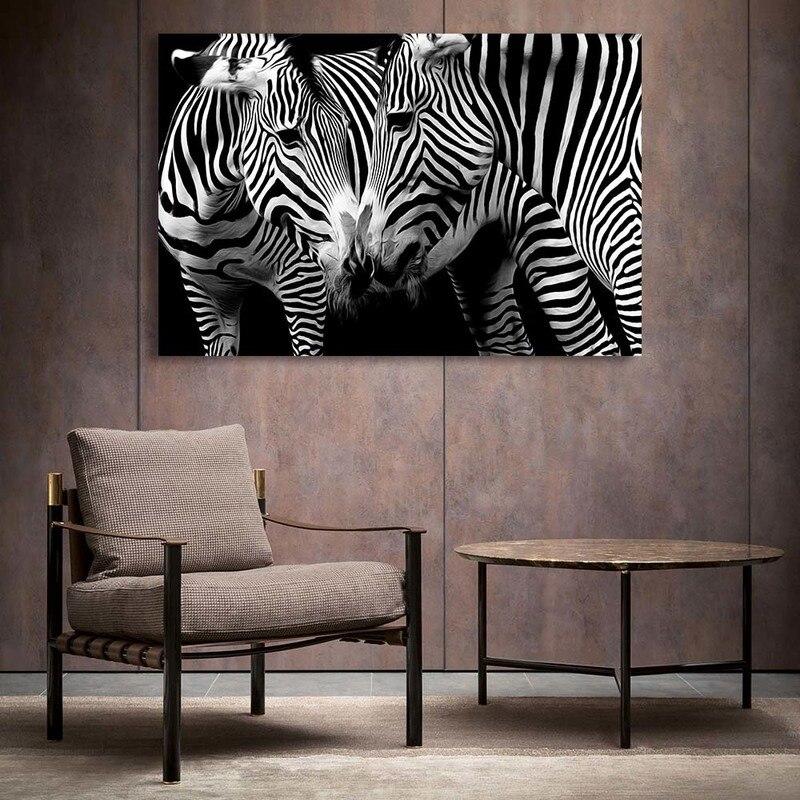 Black And White Animal Canvas Prints Wall Art Living Room Home Decor Zebra Deer Lion Horse