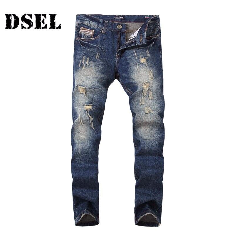 DSEL Brand Men Jeans Dark Blue Color Denim Destroyed Ripped Jeans Mens Pants High Quality Slim Fit Fashion Street Biker Jeans patch jeans men slim skinny denim blue jeans ripped trousers famous brand dsel jeans elastic pants star mens stretch jeans w701