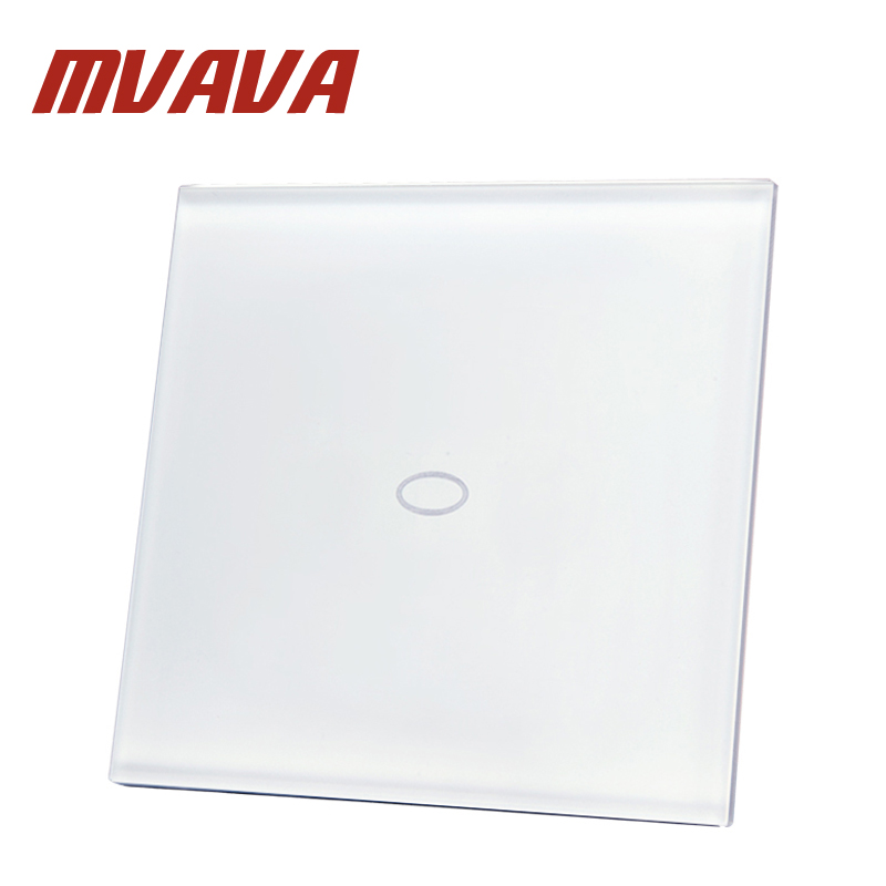 MVAVA EU Standard Remote Switch Crystal Glass Panel 220~250V Wall Light Remote Touch Switch 1 Gang 2 Way Capacitive Touch Switch mvava eu standard 3 gang 1 way remote control light switch golden crystal glass panel touch switch wall switch for smart home