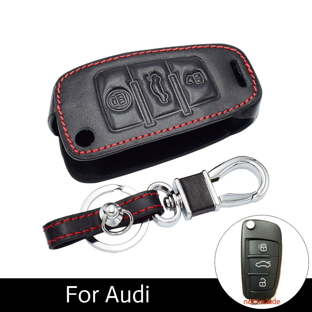 Audi Car Key Fob Cover for Audi 2016 A4 A5 TT 2017 A7 Q7 C5 C6 B6 B7 B8 TT 80 S6 A6 C6 Key Holder Remote Control Protective Leather Case with Metal Key Chain 3 Buttons