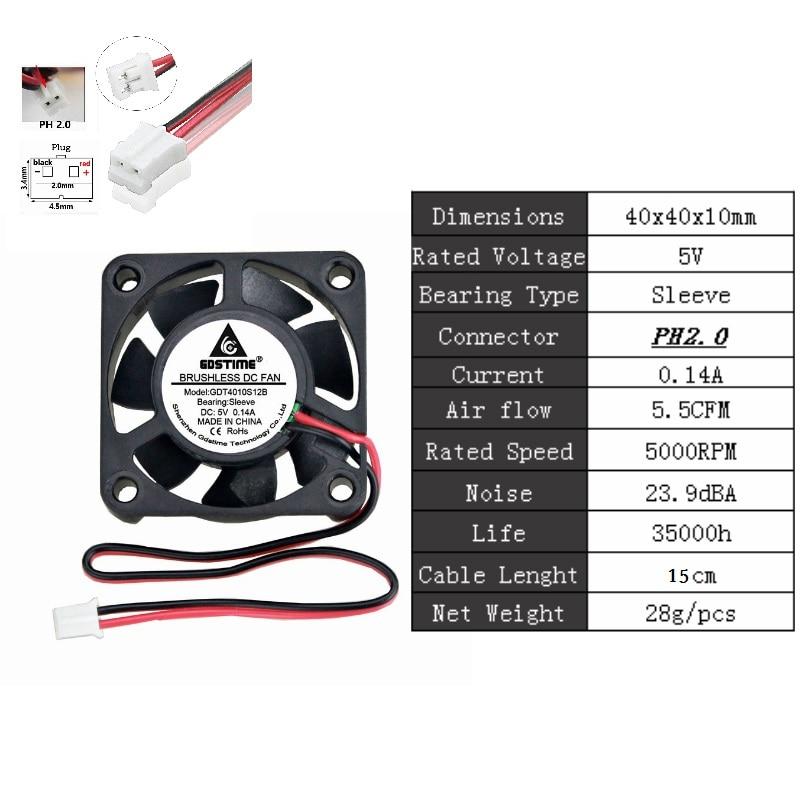 2 шт. Gdstime DC 5 в 12 В 24 в 40 мм x 40 мм x 10 мм 40 мм шарикоподшипник рукав мини маленькое охлаждение 4 см вентилятор 3d принтер охлаждающий вентилятор - Цвет лезвия: 5VPH2.0