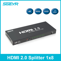 HDMI 2,0 Splitter SGEYR 1x8 HDMI Splitter 2,0 4K @ 60 Гц HDR 1 вход 8 Выход Поддержка HDCP 2,2 EDID для HDTV PC dvd проектор