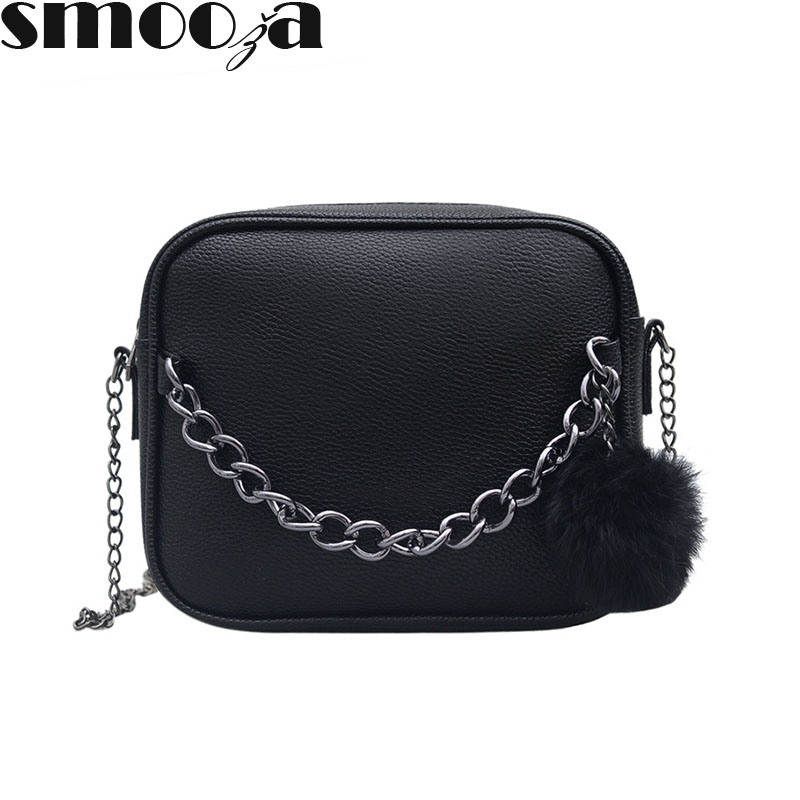 SMOOZA Handbag Chain Messenger-Bags Shoulder-Crossbody-Bag Women Bag Plush-Ball Small