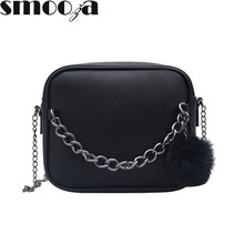 SMOOZA Small Designer Chain Women Bag Leather Handbag Women Messenger Bags PU Shoulder Crossbody Bag with Plush Ball Toy Bolsa(China)