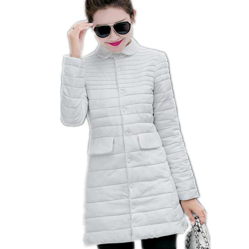 2017 New Women Down Cotton Thin&Light Parkas Single Breasted Slim Women Winter Size L-4XL Five Colors Warm Outerwear Coat CQ183 jm collection new navy single breasted coat l $99 5 dbfl