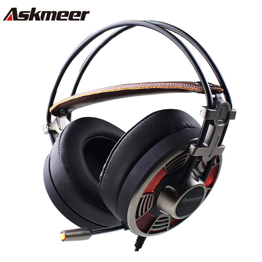 Askmeer V16 Gaming Headphones casque Super Big Earmuffs Stereo USB Headset Gamer with Microphone LED Light for Computer PC Game super bass gaming headphones with light big over ear led headphone usb with microphone phone wired game headset for computer pc