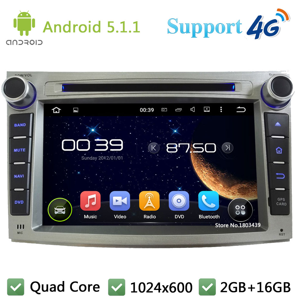 Quad Core 7″ 1024*600 2Din Android 5.1.1 Car DVD Multimedia Player Radio FM DAB+ 3G/4G WIFI GPS Map For Legacy Outback 2009-2012