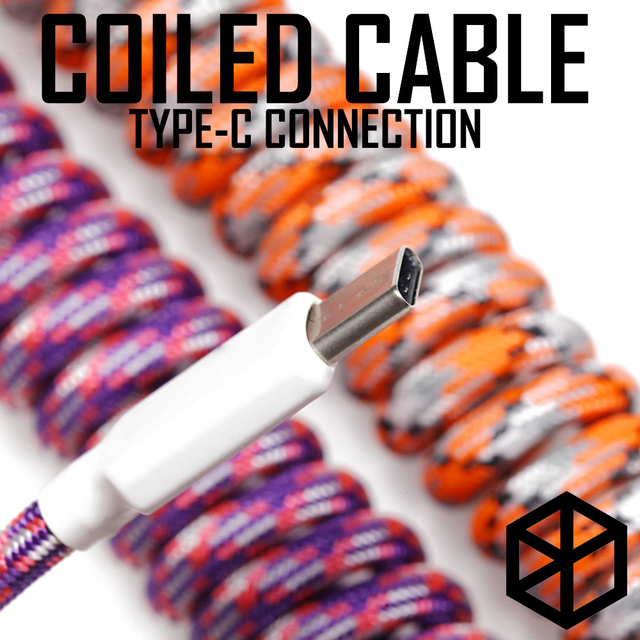 nylon usb c port coiled Cable wire Mechanical Keyboard GH60 USB cable type c USB port for poker 2 GH60 keyboard kit DIY