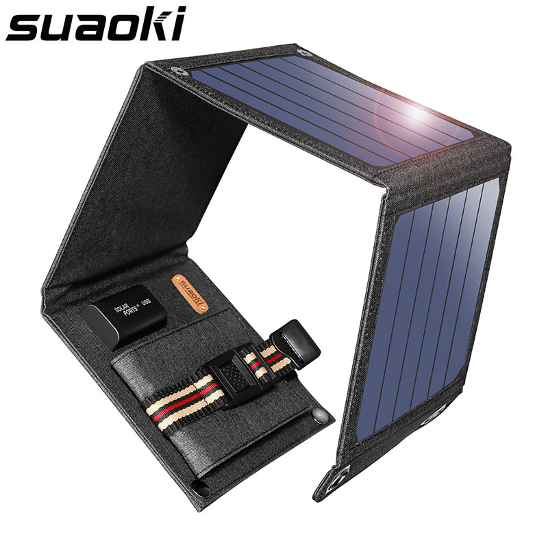 2020 Suaoki 25W Foldable Dual-USB-Port Solar Charger Outdoor Portable Power Bank