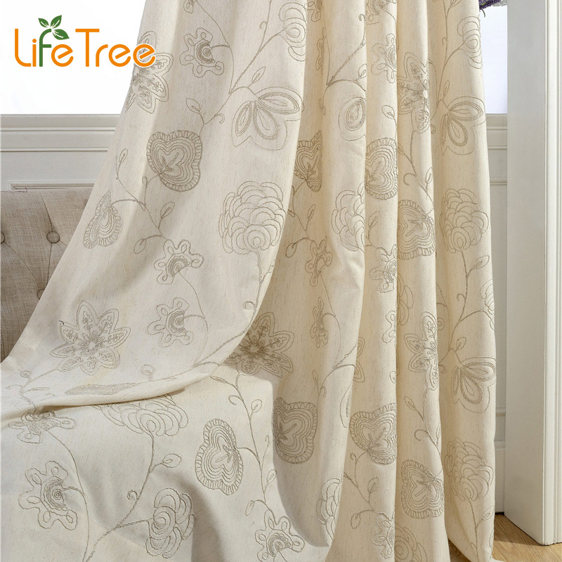 Blue  Cream Stick Figures Embroidered Pastoral Curtains