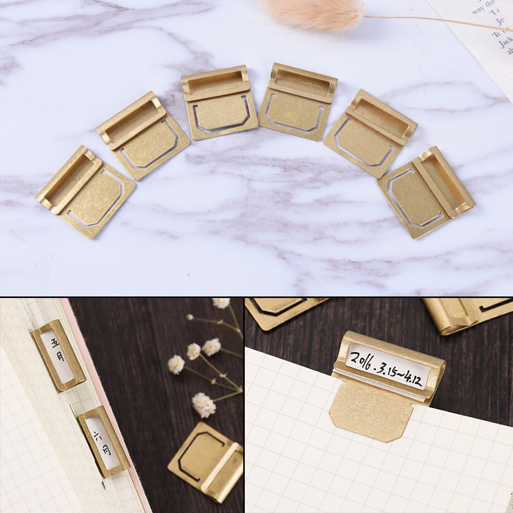 6pcs/pack Retro Copper Memo Clips Office Supplies Stationery Bookmark Metal Brass Index Clamp Label Clip Paper Clips 2.8cm*2.7cm