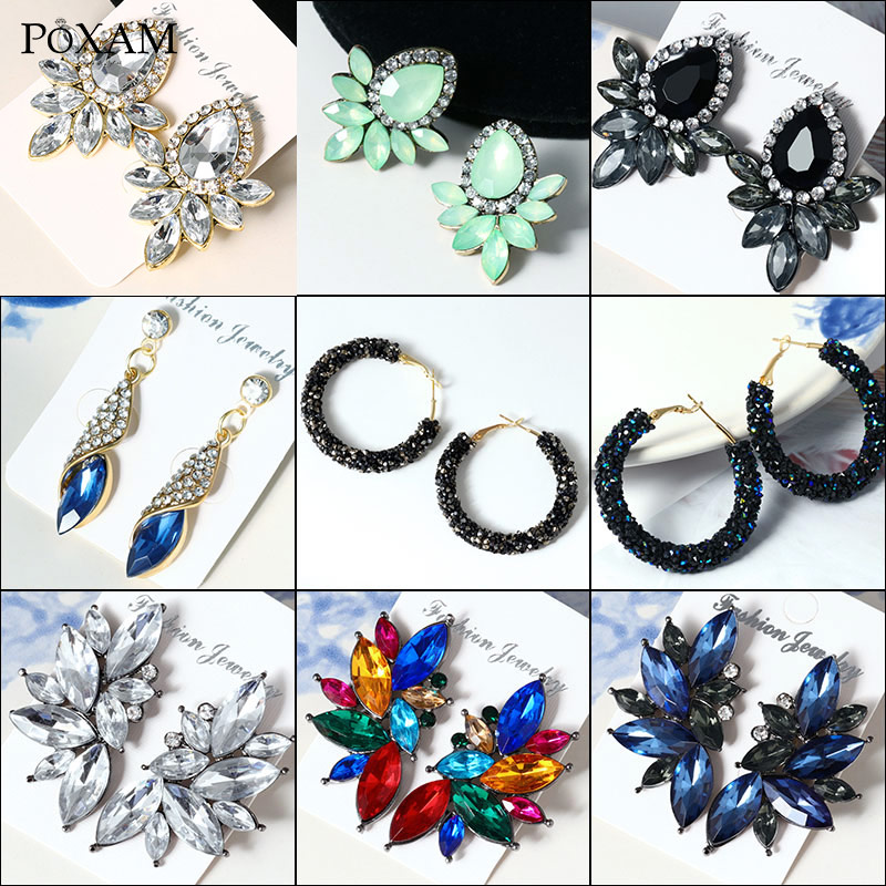 POXAM Korean Statement Crystal Drop Earrings For Women 2019 Fashion Jewelry Geometric Multiple Color AAA Zircon Women's Earring