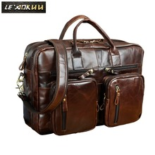 Мужской портфель из восковой кожи, античный дизайн, деловой портфель для путешествий, сумка для ноутбука, модная сумка-мессенджер, мужская сумка-тоут k1013