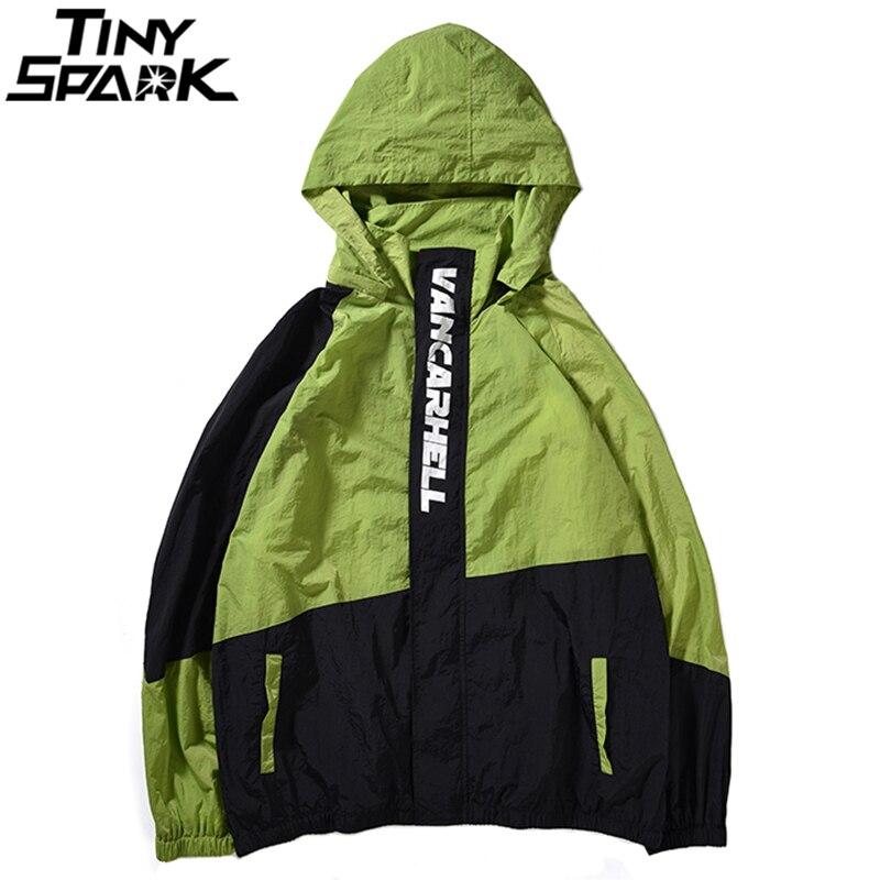 Хип-Хоп куртка с капюшоном ветровка Для мужчин Уличная Harajuku ретро Цвет блок куртка Тонкий спортивный куртки негабаритных 2018 осень