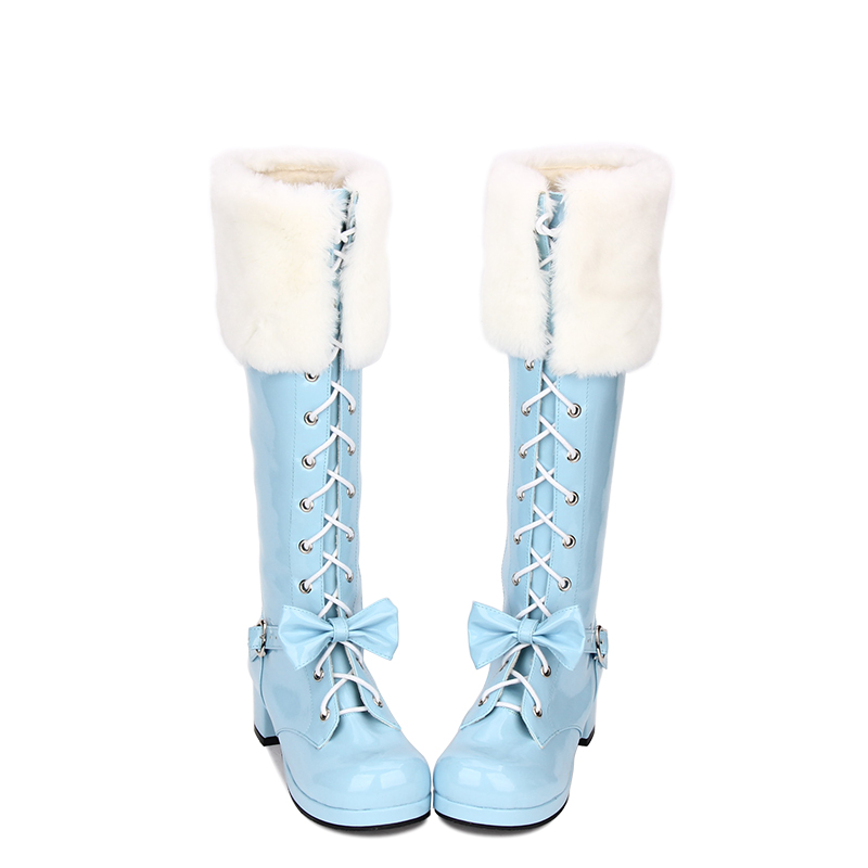 Angelic imprint New Fashion Lolita style Knee High Winter Boots for Women Short Plush worm shoes size 35-46 8003 angelic imprint gothic lolita style platform shoes new fashion lolita sandals size 35 46 8276
