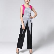 DEAT 2019 新夏と秋ファッションの女性の服プリーツ弾性ヴィンテージ女性の正方形の襟ノースリーブコントラスト色