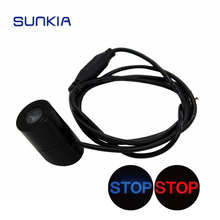 цена на SUNKIA 12V-24V Car Warning Laser Tail Logo Rear Fog Light Car Styling Auto Brake Parking Rearing License Lamp STOP/SKULL Design