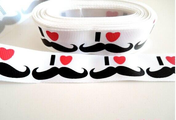 wholesale 50yards lot 1 25 26mm white i love heart mustache ribbon