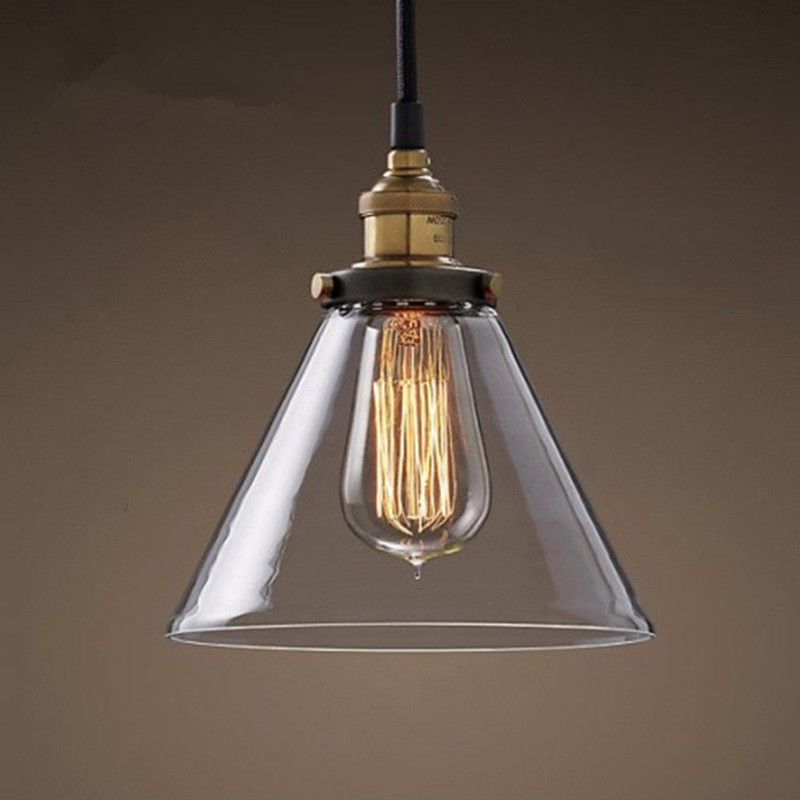 Buy vintage loft clear glass pendant for Hanging light fixtures for dining room