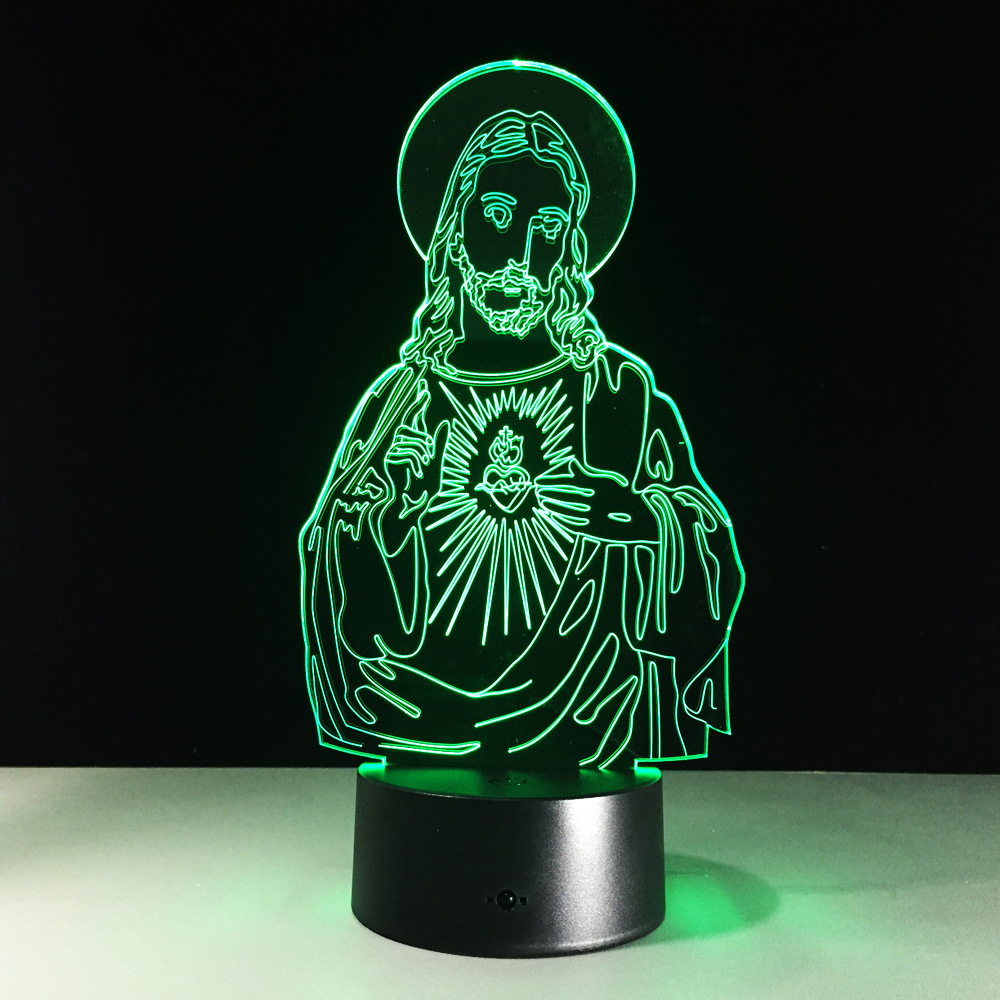 Thanksgiving Day Gift Jesus Christ 3D Night Light Touch 7 Color LED ...