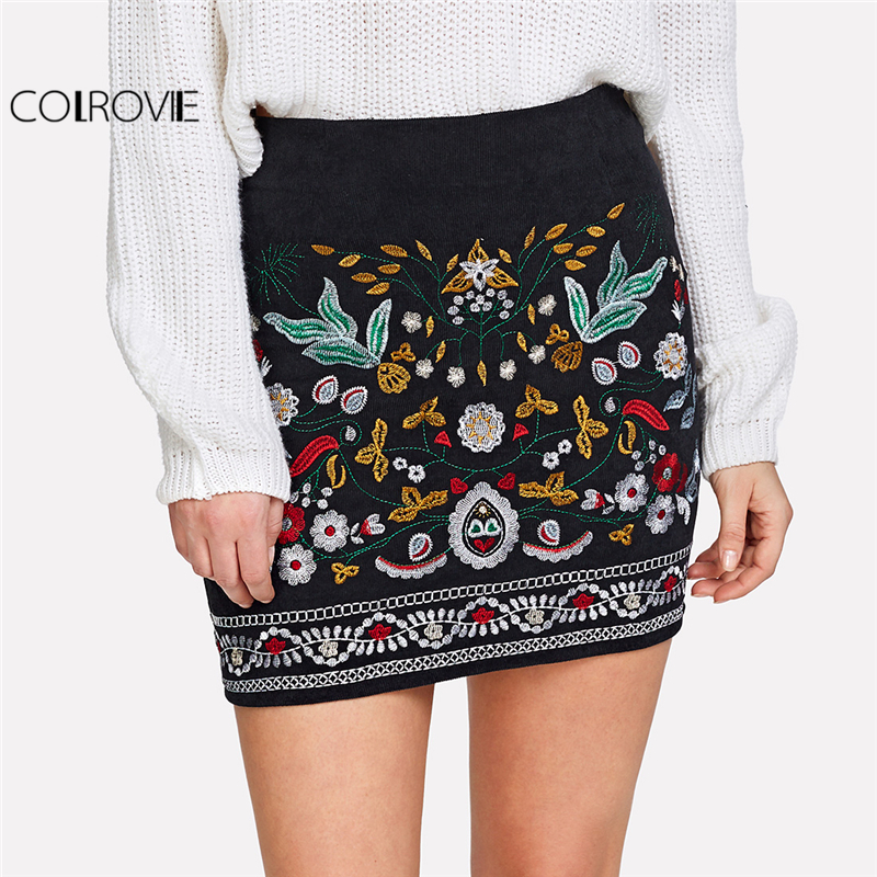 COLROVIE Botanical Floral Embroidered Cord Skirt Black Mid Waist Sheath Above Knee Skirt Women Tribal Corduroy Skirt