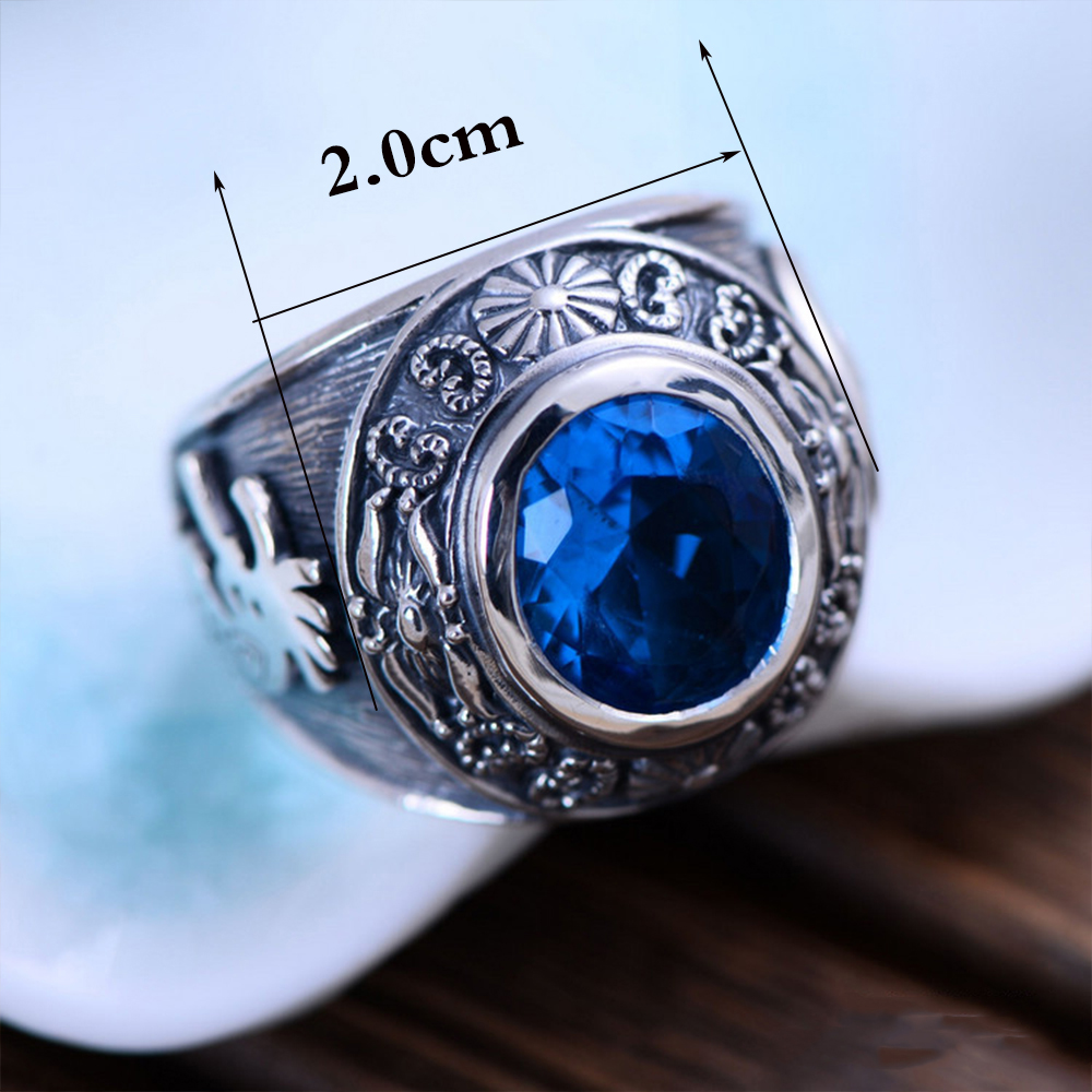 MetJakt Vintage Men Blue Topaz Rings Hand Carved Totem Solid 925 Sterling Silver Ring for Men Personality Thai Silver Jewelry-in Rings from Jewelry & Accessories    2