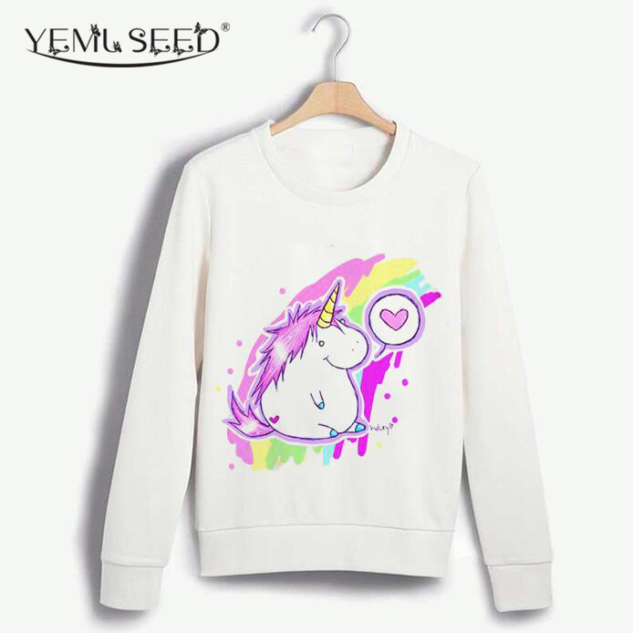 Casual Sudaderas Mujer Autumn Winter Sweatshirt Women Hoodies Pullover 3D Design Unicorn Print Plus Size Suit O-neck