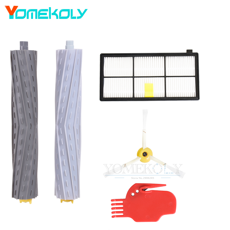1 Tangle-Free Debris Extractor Set &Side Brushes &Hepa Filter For iRobot Roomba 800 series 860 870 880 980 Vacuum Cleaner Parts 2 set tangle free debris extractor 4 hepa filter 6 side brush fit for irobot roomba 800 900 series 870 880 980 cleaner parts