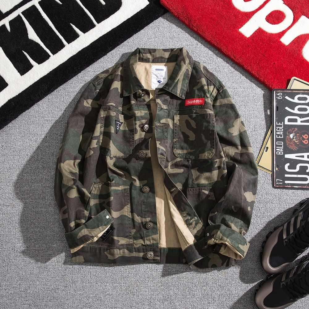 2019 군사 의류 남성 패션 streetwear 전술 코트 턴 다운 칼라 ceket homme 위장 자켓 jassen man bombers