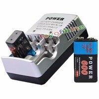 1x9 в 9 вольт 600 мАч Мощность черный ni-mh перезаряжаемые батарея PPS блок + зарядное устройство США/ЕС/AU/Великобритания переходник